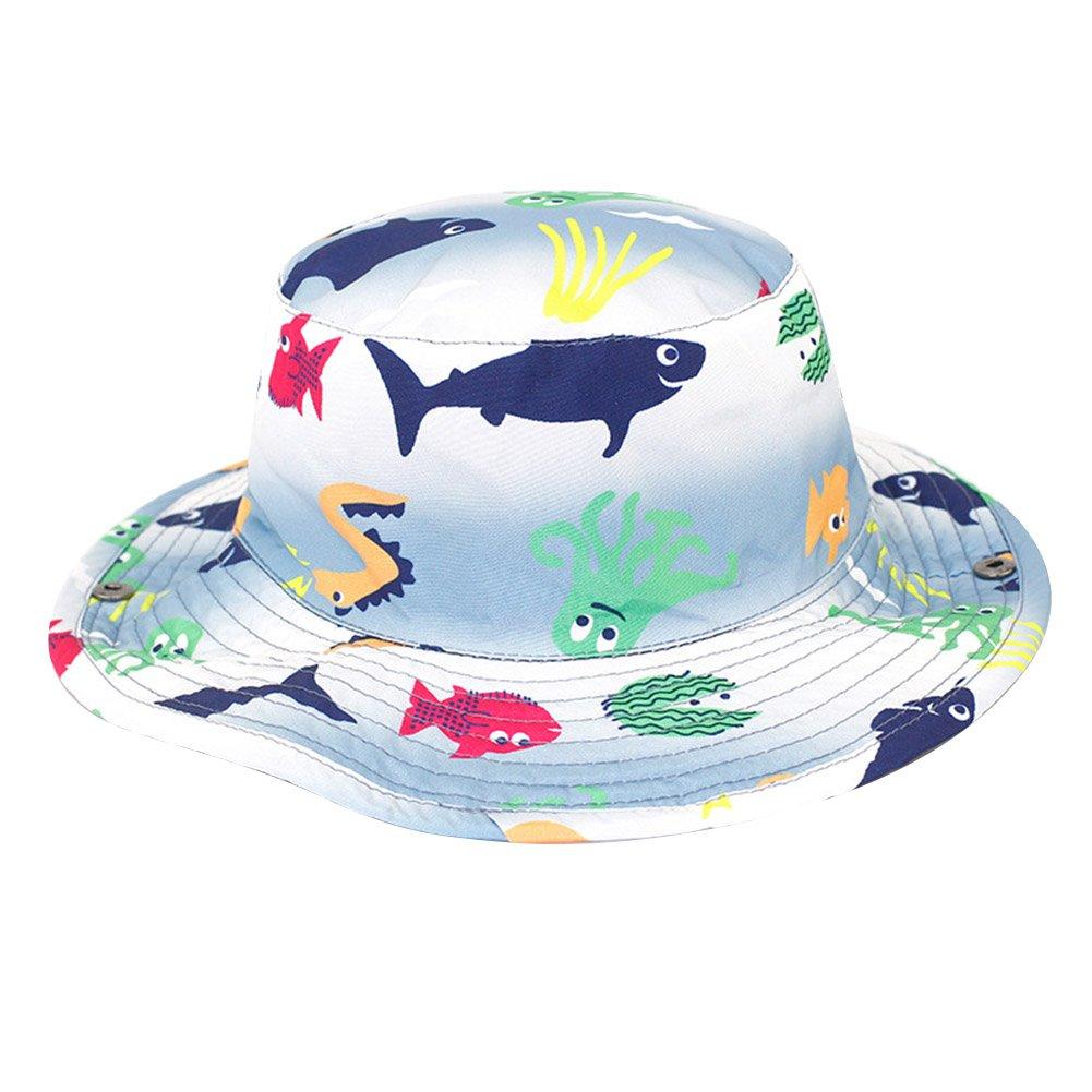 ACTLATI Boys Girls Bucket Hat Cotton Kids Sea Animals Anti-UV Sun Hat for Travel Fishing Camping Beach
