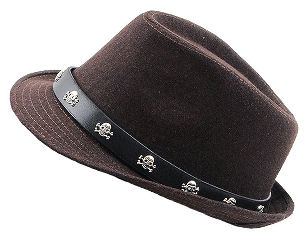 Diffyou Mens Studded Skull Wool Cloche Unisex Fedora Trilby Felt Hat