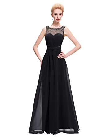 Yahmet Womens Long Elegant Evening Dresses Cheap Chiffon Formal Party Dress with Illusion Back Prom Gown