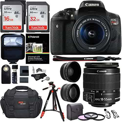 Canon EOS Rebel T6i 24.2 MP DSLR Camera, 18-55mm f/3.5-5.6 STM Lens, RitzGear HD .43x Wide Angle & 2.2X Telephoto Lenses, 48 GB SDHC Memory + 48