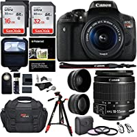 Canon EOS Rebel T6i 24.2 MP DSLR Camera, 18-55mm f/3.5-5.6 STM Lens, RitzGear HD .43x Wide Angle & 2.2X Telephoto Lenses, 48 GB SDHC Memory + 48' Tripod, 58mm Filter Kit, Bag and Accessory Bundle