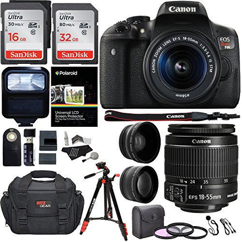Canon EOS Rebel T6i 24.2 MP DSLR Camera, 18-55mm f/3.5-5.6 STM Lens, RitzGear HD .43x Wide Angle & 2.2X Telephoto Lenses, 48 GB SDHC Memory + 48″ Tripod, 58mm Filter Kit, Bag and Accessory Bundle