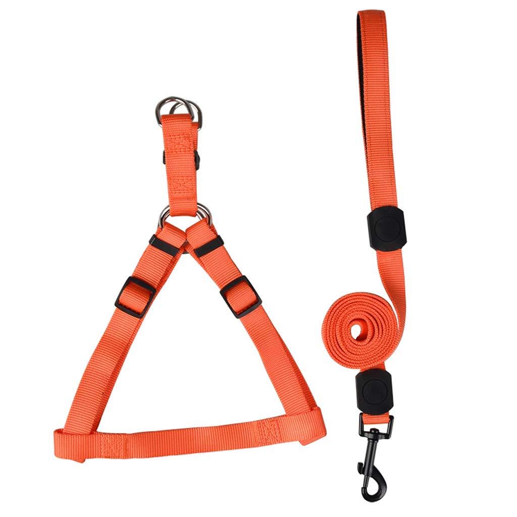 orange L orange L Nylon Woven Pet Leash, Solid color Reflective Dog Buffer Rope (color   orange, Size   L)