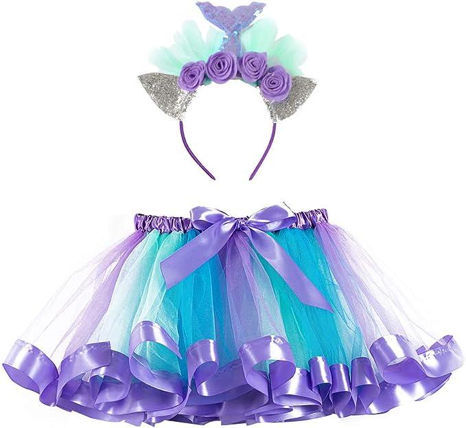 JaosWish 2 unidades de falda tutú de sirena para niñas y niñas ...