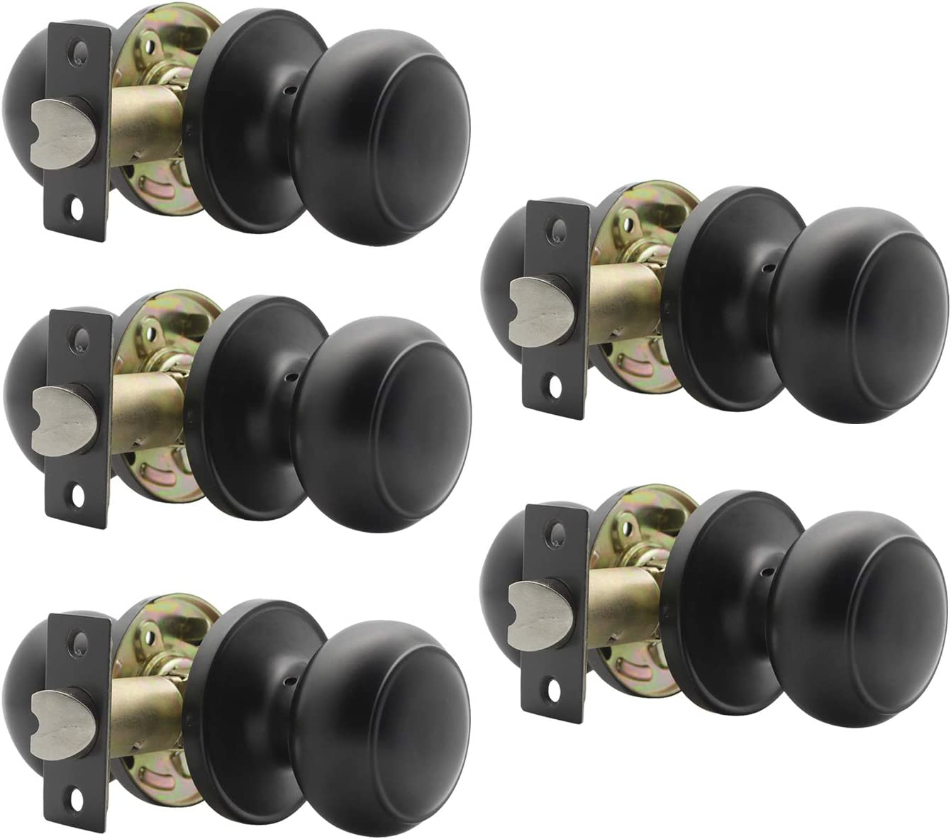 Gobrico Flat Ball Black Passage Door Locksets Hall and Closet Door Knobs Without Key 5Pack