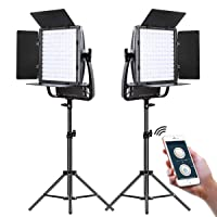 2-Pk GVM Great Video Maker LED Video Lighting Panel w/Tripods