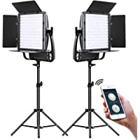 2-Pack GVM Great Video Maker LED Video Lighting Kit with Tripods and Optical Lens