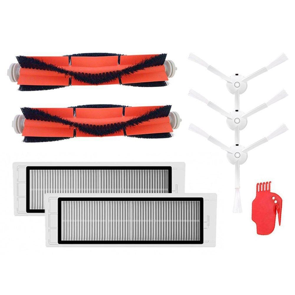 SODIAL Accessories For XIAOMI mijia/roborock Vacuum Accessories 3 PCS Side Brush 2 Pcs HEPA Filter 2 Pcs Main Brush 1Pcs Cleaning Tool