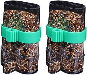 POPETPOP Bird Water Dispenser-2PCS Automatic Bird Feeder Parrot Drinking Bottle Feeder Pet Bird Dual-Use Bird Food Dispenser