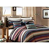 6 Piece Tan Red Turquoise Blue Southwest Coverlet Twin/Twin XL Set, Stripes Southwestern Bedding Colorful Native American Colors Striped Pattern Tribal Brown Sage Purple Teal Earthy Tones Polyester