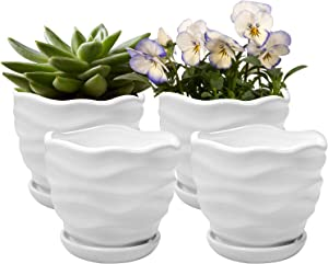 Comrzor Set of 4 Ceramic Flower Pots, 4.7 Inch Garden Plant Pot with Drainage Hole and Saucer, Cactus Planters Water Pattern Plants Containers Indoor & Outdoor