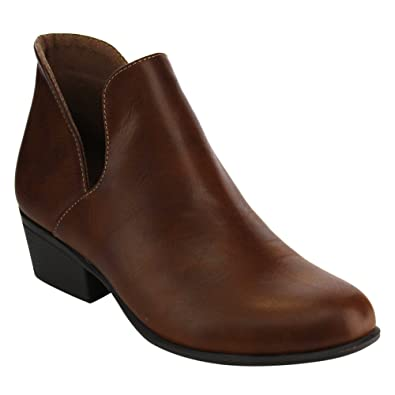 EE12 Women's Chelsea Side Slit Chunky Ankle Booties