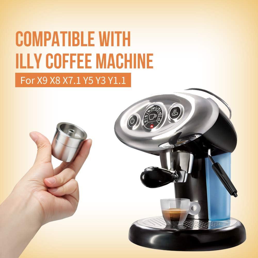 ALLOMN C/ápsula de Caf/é Reutilizable C/ápsula de Acero Inoxidable Filtro de Caf/é Concentrado Italiano Compatible con la M/áquina de Caf/é ILLY para x9 x8 x7.1 Y5 Y3 Y1.1