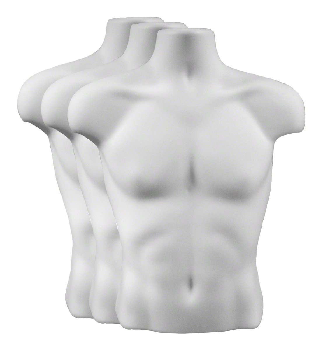 Torso Form - Male, Case of 3, White Plastic Mannequins