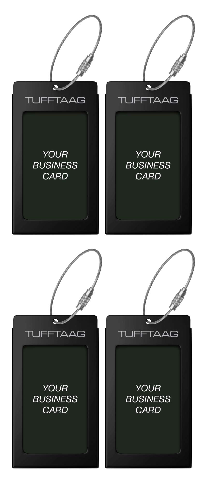 Luggage Tags TUFFTAAG for Business Cards, Metal Suitcase Labels, 4 Pack Bundle (4 Black)