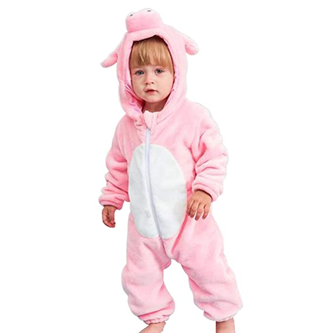 FIZUOXVE Infant Baby Girls Winter Cute Pink Pig Modeling Hooded Fleece  Romper Jumpsuit Snowsuit Warm Onesie 4962a8f7afb7