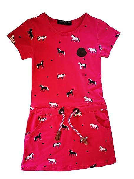 SQUARED /& CUBED Kleid Pferde Sommerkleid Baumwolle Blau