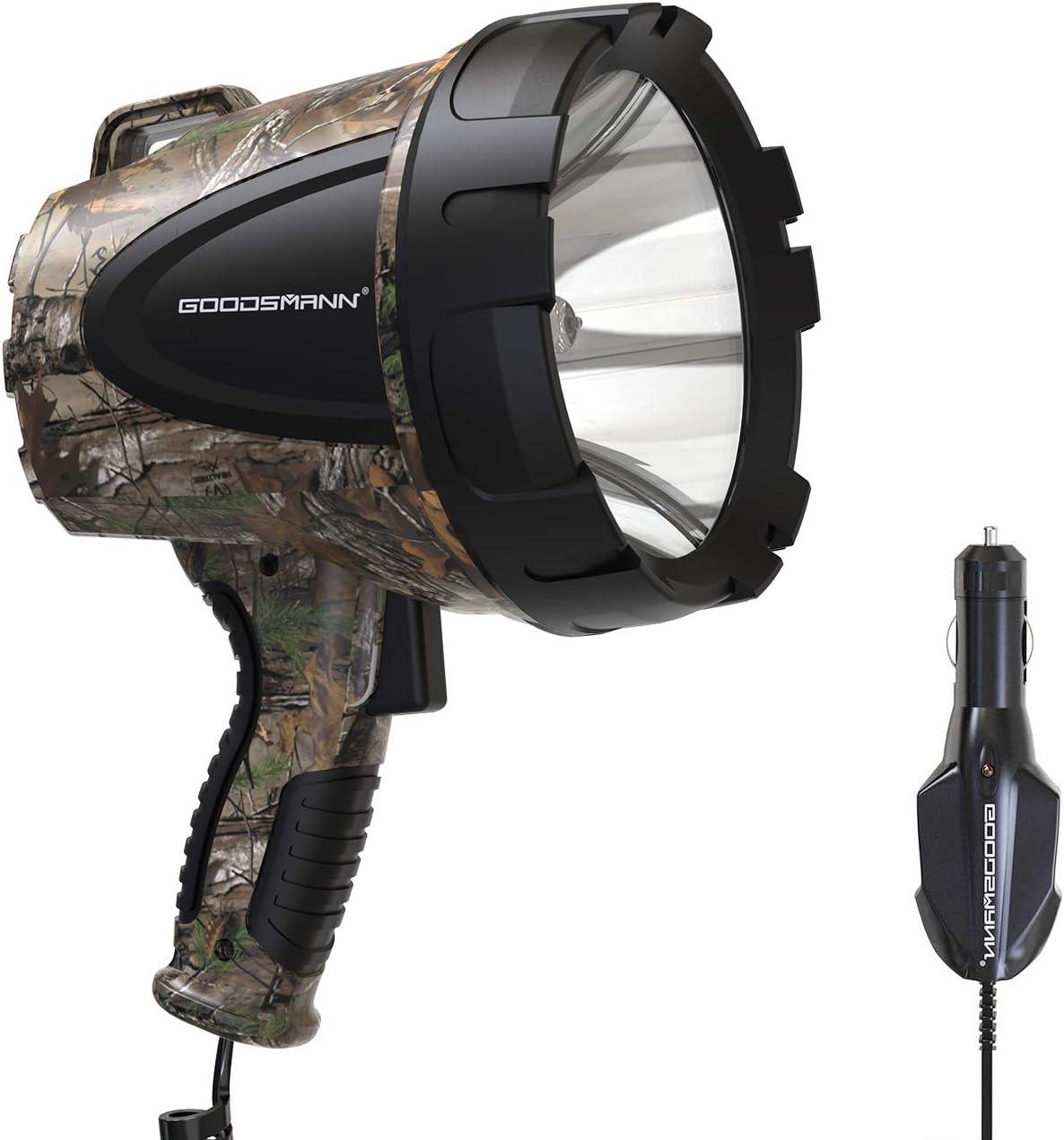 GOODSMANN Spotlight Hunting Camo Portable Handheld Light 1500 Lumen Realtree Xtra Halogen Lighting 12V with Oxford Bag TacticPro H102-01