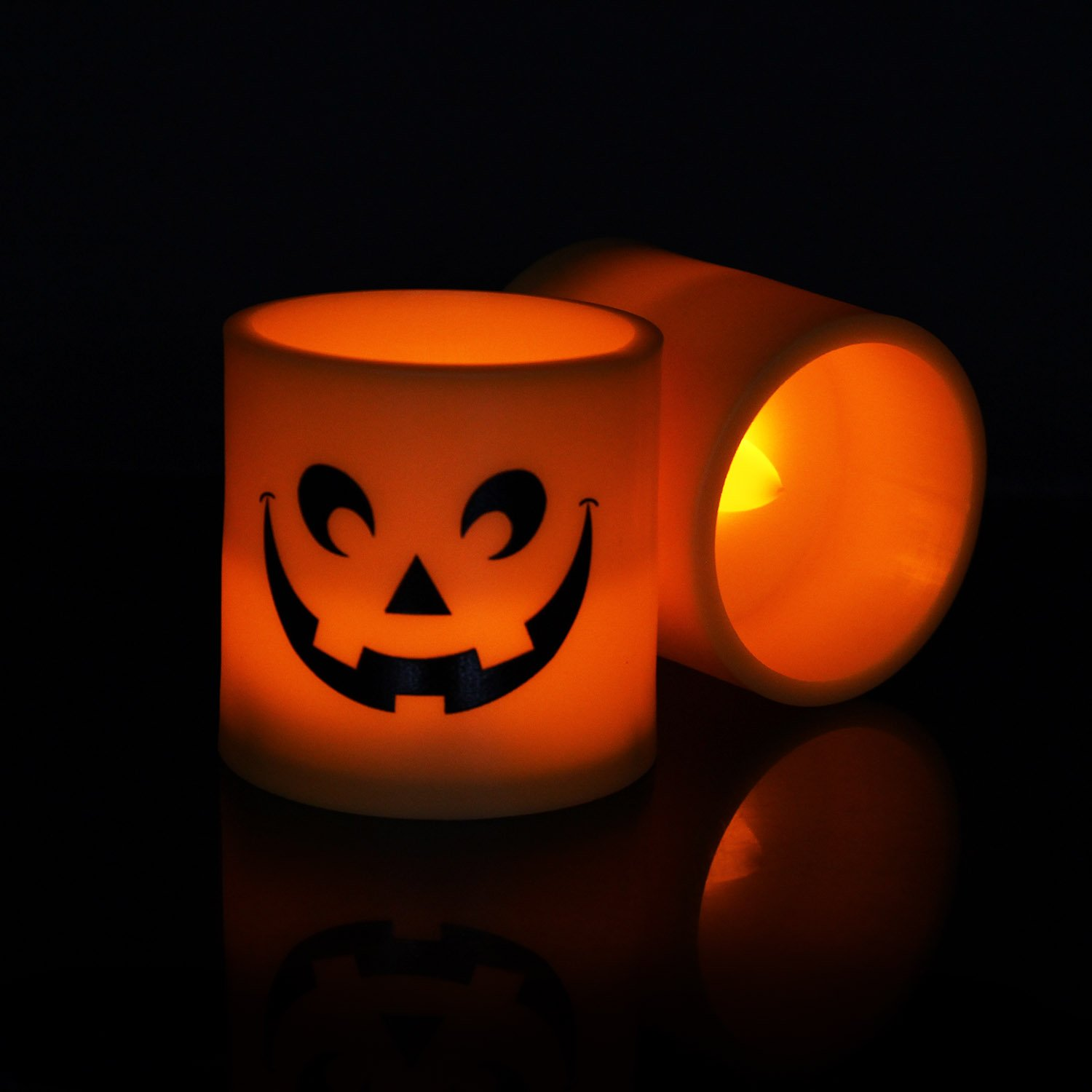 Halloween Pumpkin Light Yellow Flickering Led 6 Pcs Tea Light Flameless Candle, Battery-Operated Electronic Candles Special for Halloween Party Decorations Home Décor Christmas Decoration By Horeset