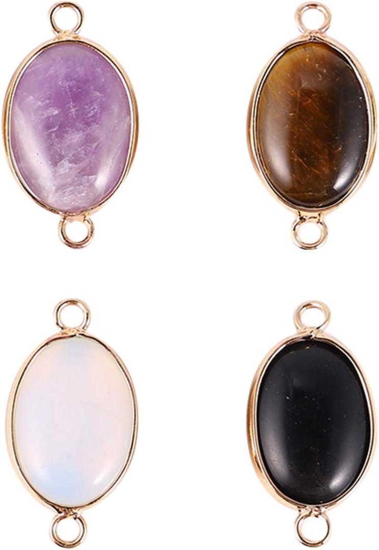 EXCEART 4 Piezas Piezas de Piedra Ovalada Colgante de Piedras Preciosas Conectores de Encanto Piedras Preciosas Cuarzo Encantos Cuentas de Cristal de Cristal Colgantes Encantos de Vidrio