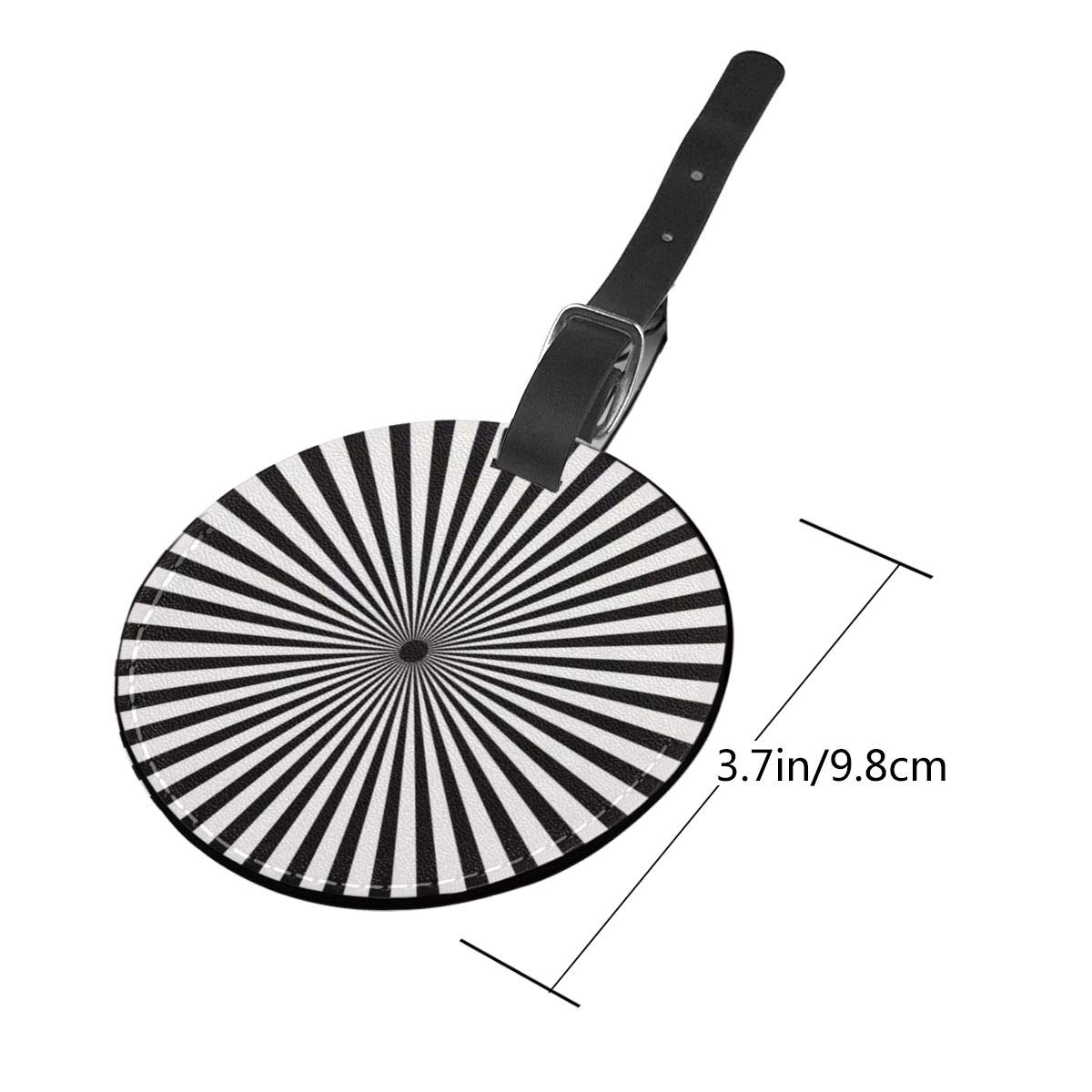 Round Luggage Tags Radiating Black And White Line PU Leather Suitcase Labels Bag