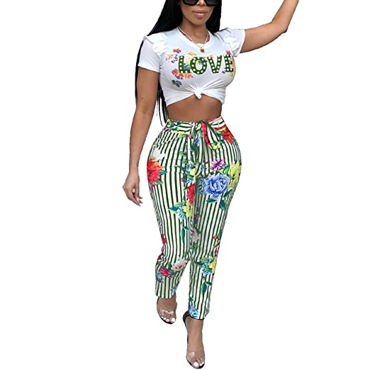 e1649110d3d4 Kafiloe Women Casual Ruffle Crop Top Pants Set Floral Jumpsuit Summer 2  Piece Outfits Clubwear Green