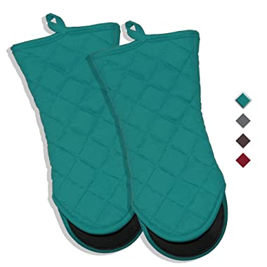 YEKOO Oven Mitts 7 x13  Cotton and Neoprene Dual-Function Hot Pad Set for Finger Hand Wrist Protection Heat Resistant to 428°F Teal