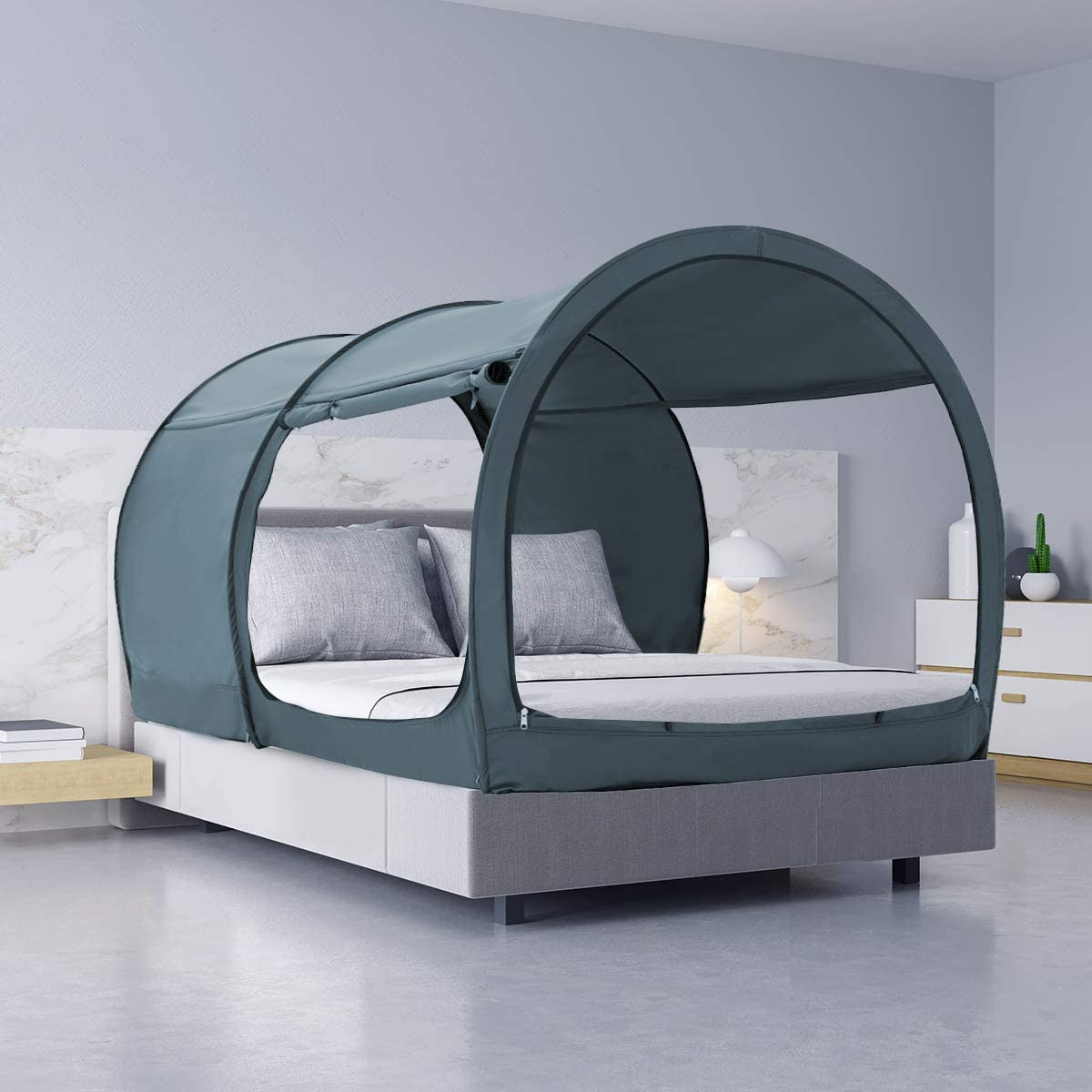 Mattress Not Included Bed Tent Dream Tents Bed Canopy Shelter Cabin Indoor Privacy Warm Breathable Pop Up Bunk Twin Size for Kids and Adult Patent Pending PitchBlack