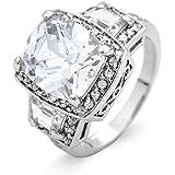 Past Present Future Halo CZ Engagement Ring