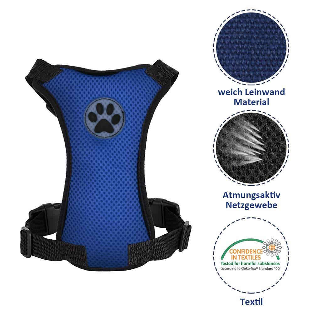Arn/és de Chaleco para Mascotas para Perros Seguridad en el Coche Cuello Ajustable y Correa para el Pecho Sin cintur/ón de Seguridad SlowTon Arn/és para autom/óvil,