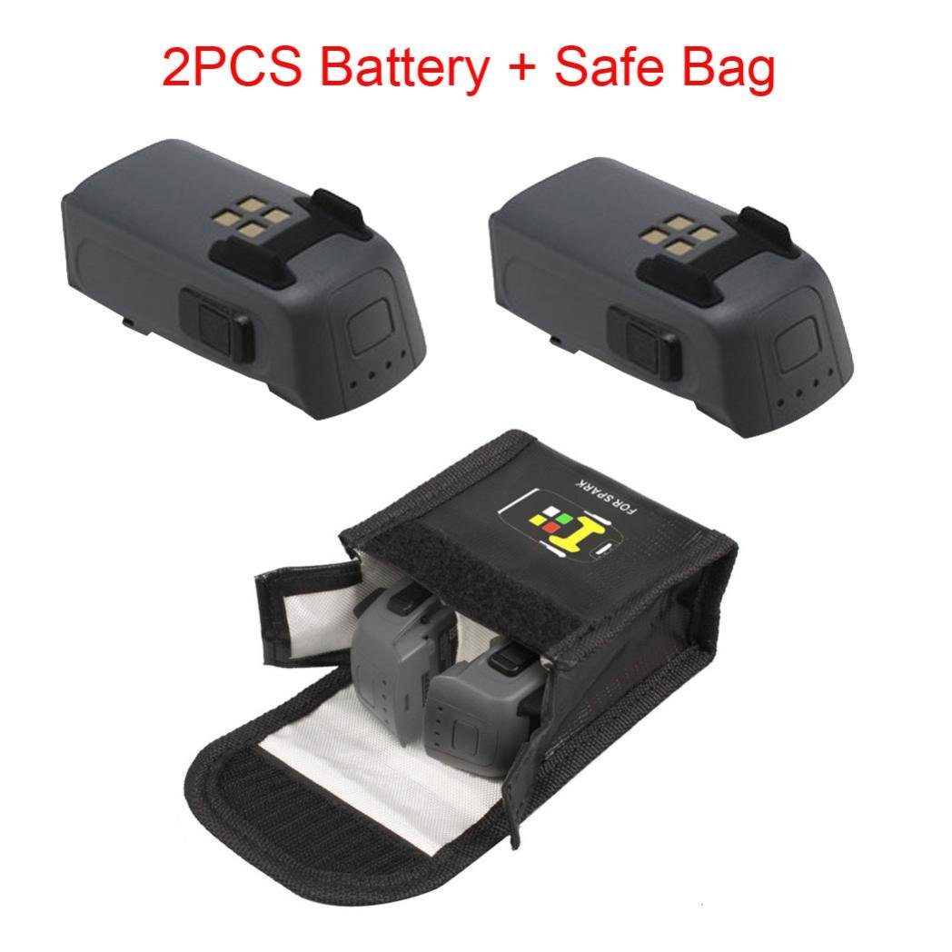 Leewa@ 2PCS 1480mAh Intelligent Flight Battery+Battery Safe Bag For DJI Spark Drone