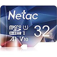 Netac Tarjeta de Memoria de 32GB, Tarjeta Memoria microSDXC(A1, U1, C10, V10, FHD, 600X) UHS-I Velocidad de Lectura hasta 90 MB/s, Tarjeta TF para Móvil, Cámara Deportiva, Switch, Tableta, Dashcam