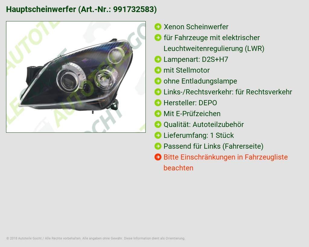 Scheinwerfer H1 H7 Links für OPEL ASTRA H H GTC H TwinTop