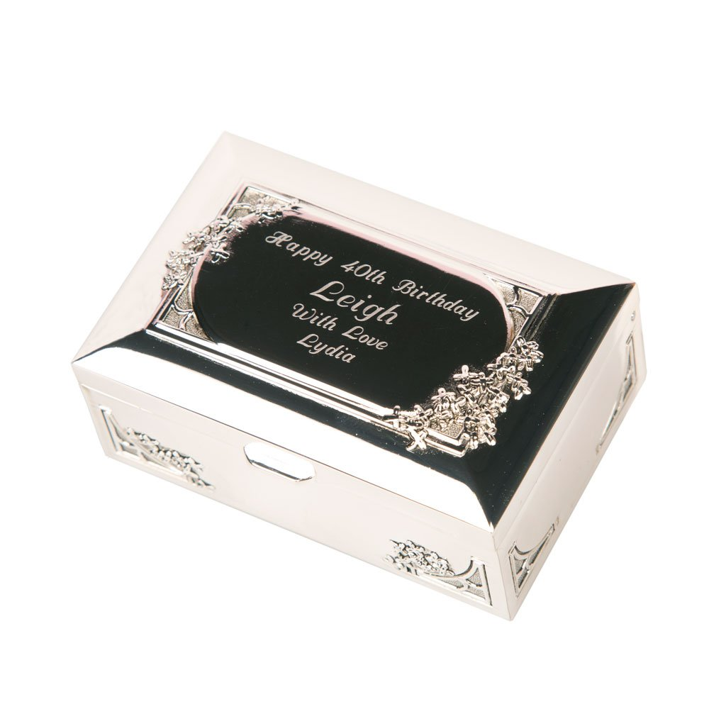 Engraved Silver Plated Trinket Box, Personalised Gifts for Her, Silver Gifts for Her Personalised Gift Ideas