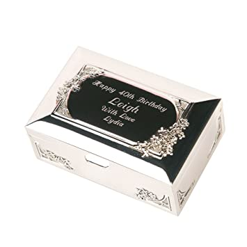 Engraved Silver Plated Trinket Box, Personalised Gifts for Her ...