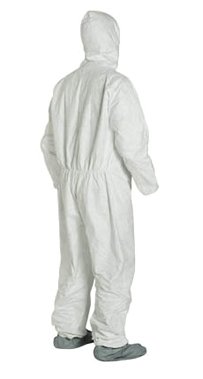 Zipper Elastic Wrist /& Ankle With Attached Booties 2XL-5 Suits TY122S WH 2XL Tyvek Coverall W// Hood 2X