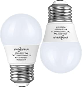 2-Pack Waterproof LED Refrigerator Bulbs 40W Equivalent, 5000K Daylight, E26 Base A15 Appliance Light Bulb for Fridge, Freezer, Non-dimmable