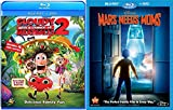 Disney Mars Needs Moms + Cloudy with a Chance of Meatballs 2 Blu Ray + DVD Cartoons awesome Animated Set