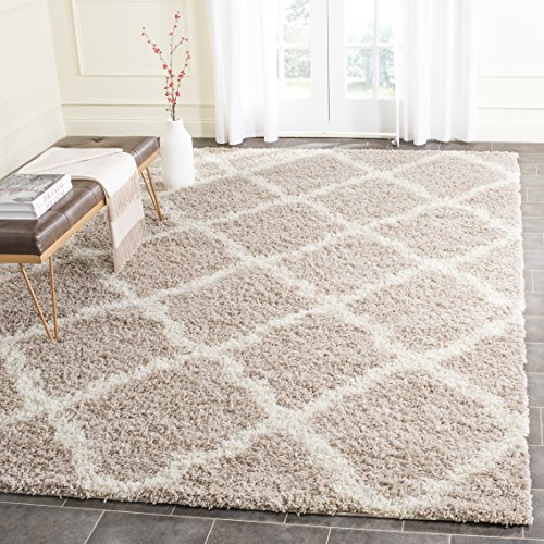 Safavieh Dallas Shag Collection SGD257D Beige and Ivory Area Rug (10' x 14') (Area 14 X 10 Rugs)