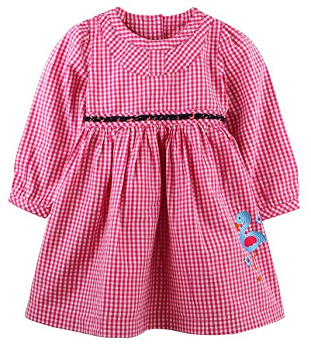 Oye Full sleeves scoop neck gingham Dress - Fuchsia (2-3Y)