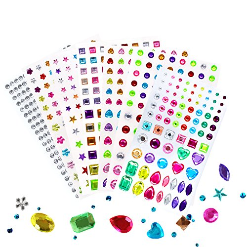 (Self-Adhesive Multicolor Rhinestone Sticker Bling, for Face, Makeup, Carnival, Crafts, Scrapbooking Embellishments Crystal Gem Stickers, Assorted Size, 7 Sheets 820 Pieces)