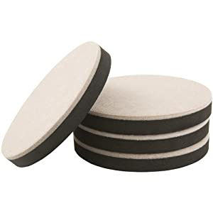 "SuperSliders 4713995K Reusable Felt Furniture Movers for Hardwood Floors- Quickly and Easily Move Any Item, 5"" Round (4 Pieces)"