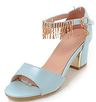 5cc559c281b Easemax Women s Fashion Peep Toe Mid Heel Fringe Buckle Ankle Strap Sandals  Blue 4 B(