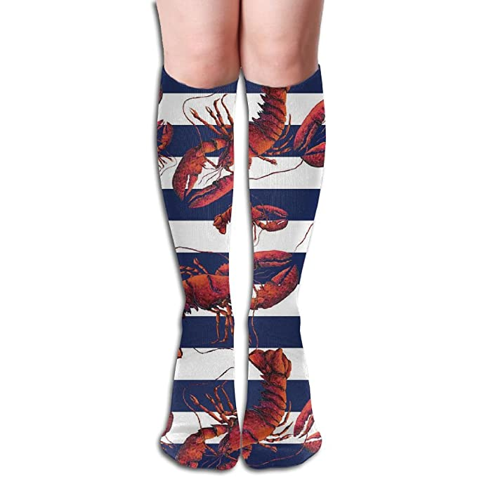 Red White And Blue Striped Lobster Tube Cotton Socks Long Cute Leg Warmer Fashion