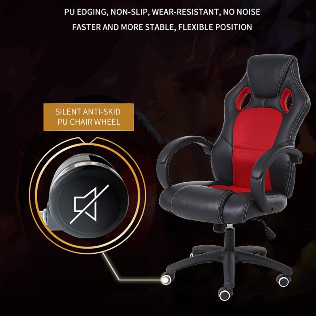 ZHAN YI SHOP spelstol, sport verkställande dator gaming racer datorstol, deluxe PU-läder mesh kontorsstol, justerbar höjd tjock dyna arbetsstol, för arbete och hem (färg: Röd) Röd