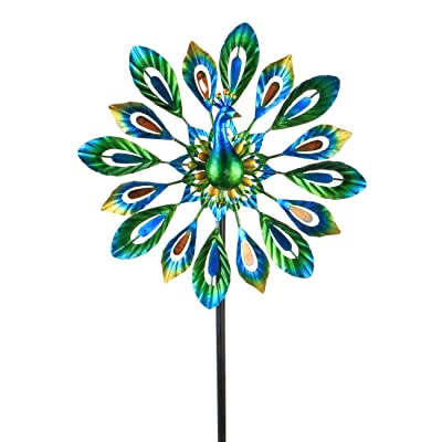 "MUMTOP Wind Spinner 51"" Peacock Double Wind Sculpture is Suitable for Decorating Your Patio, Lawn & Garden: Garden & Outdoor"