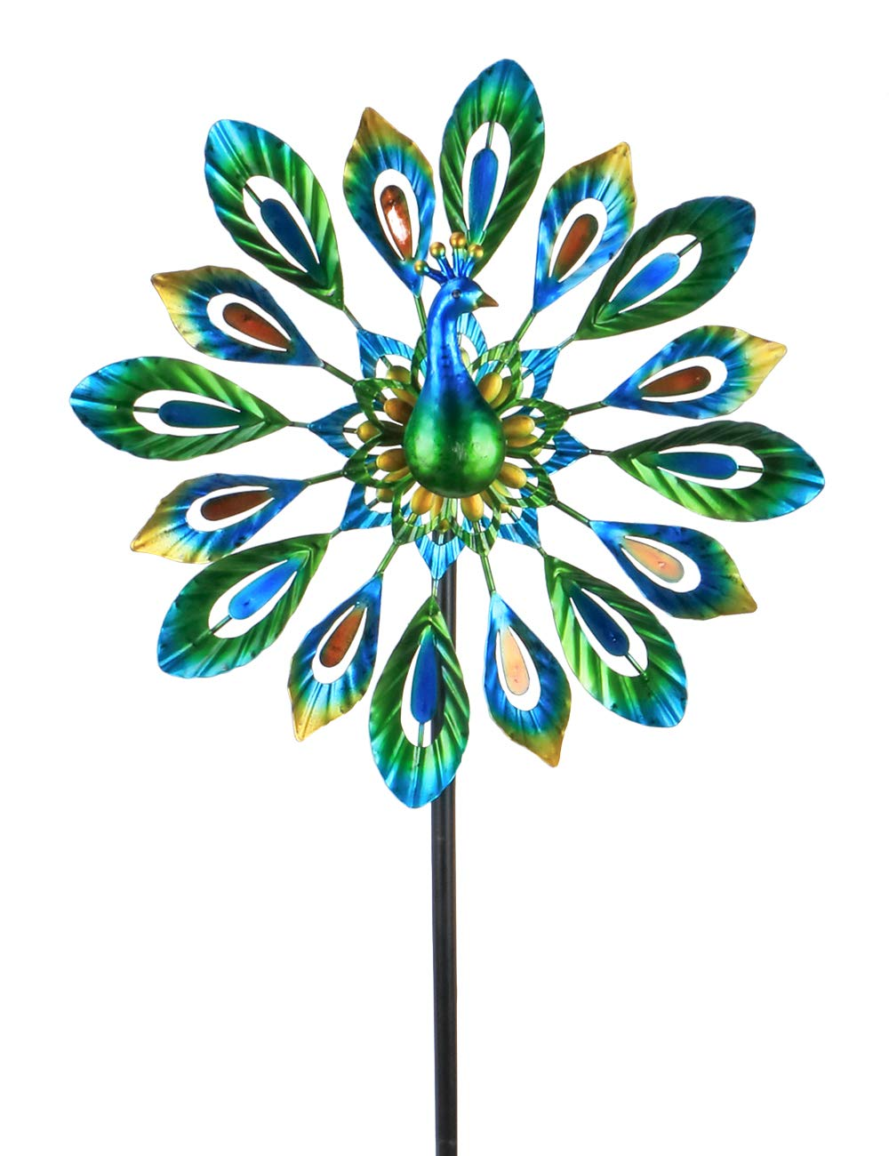MUMTOP Wind Spinner 51'' Peacock Double Wind Sculpture is Suitable for Decorating Your Patio, Lawn & Garden