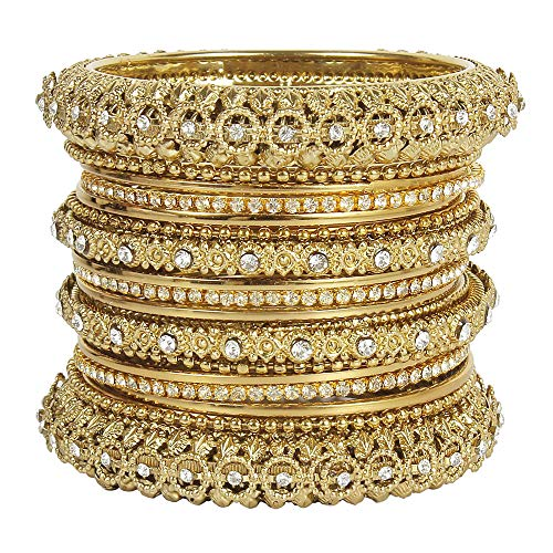 Traditional Indian Gold Jewelry - MUCH-MORE Indian Traditional Beautiful Collection Matt Color Bangles for Womens (66, 2.4)