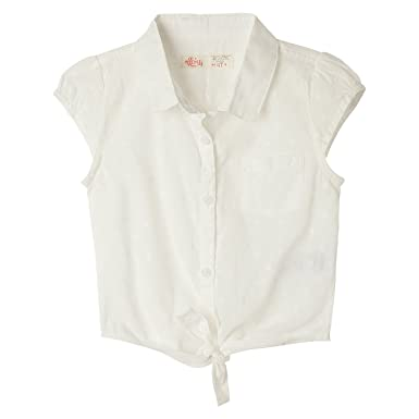 OFFCORSS Toddler Girls Kids Sleeveless Collared Shirt Knot Front Tie Little Lady Collar Solid Color Button