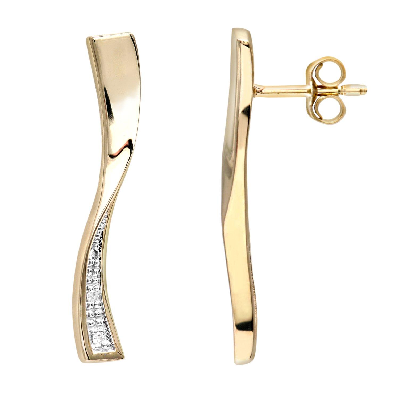 Naava Pendientes para Mujer de Oro Amarillo K con Diamantes